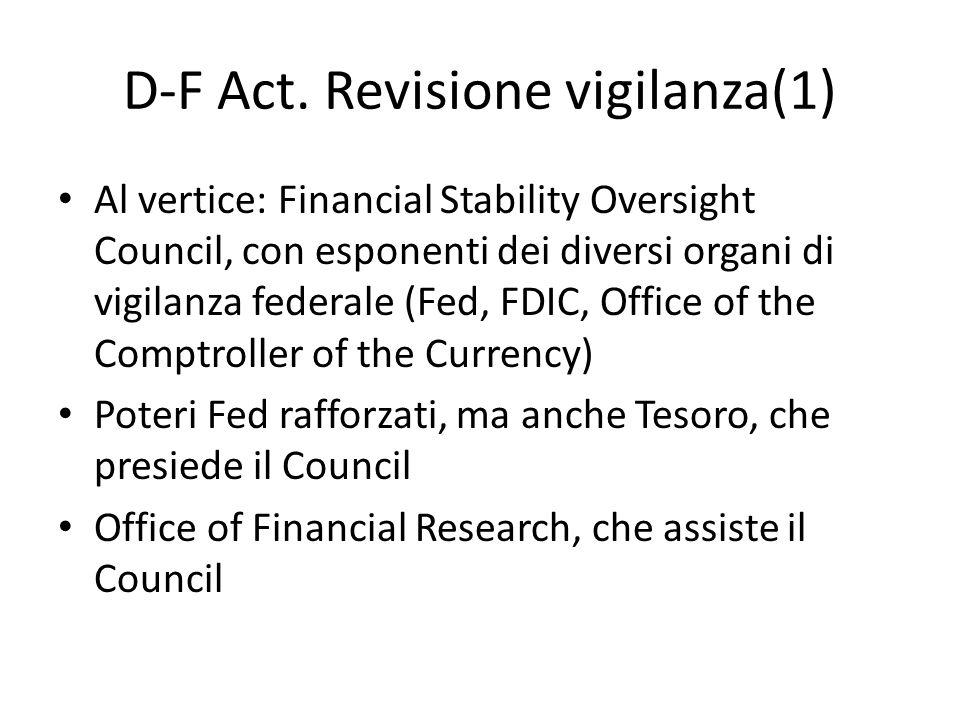 D-F Act. Revisione vigilanza(1) Al vertice: Financial Stability Oversight Council, con esponenti dei diversi organi di vigilanza federale (Fed, FDIC,