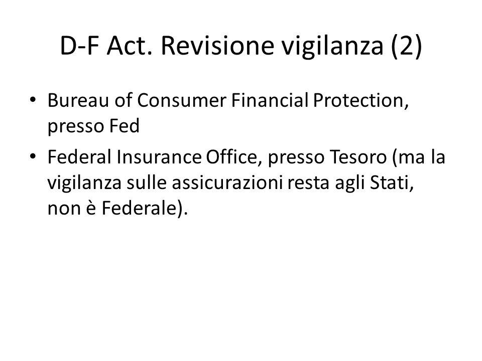 D-F Act. Revisione vigilanza (2) Bureau of Consumer Financial Protection, presso Fed Federal Insurance Office, presso Tesoro (ma la vigilanza sulle as