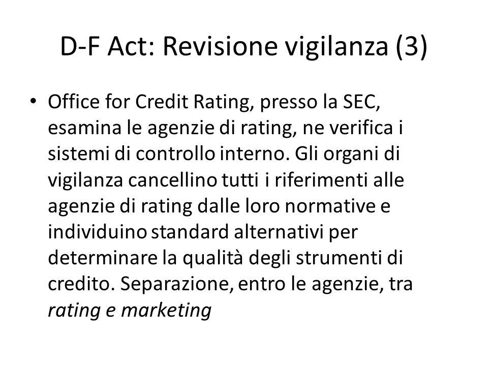 D-F Act: Revisione vigilanza (3) Office for Credit Rating, presso la SEC, esamina le agenzie di rating, ne verifica i sistemi di controllo interno. Gl