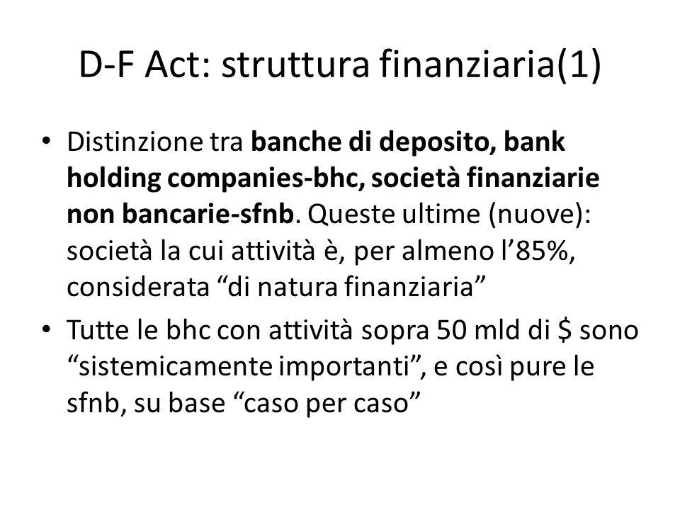 D-F Act: struttura finanziaria(1) Distinzione tra banche di deposito, bank holding companies-bhc, società finanziarie non bancarie-sfnb. Queste ultime