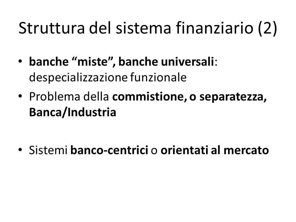 Struttura del sistema finanziario (2) banche miste, banche universali: despecializzazione funzionale Problema della commistione, o separatezza, Banca/
