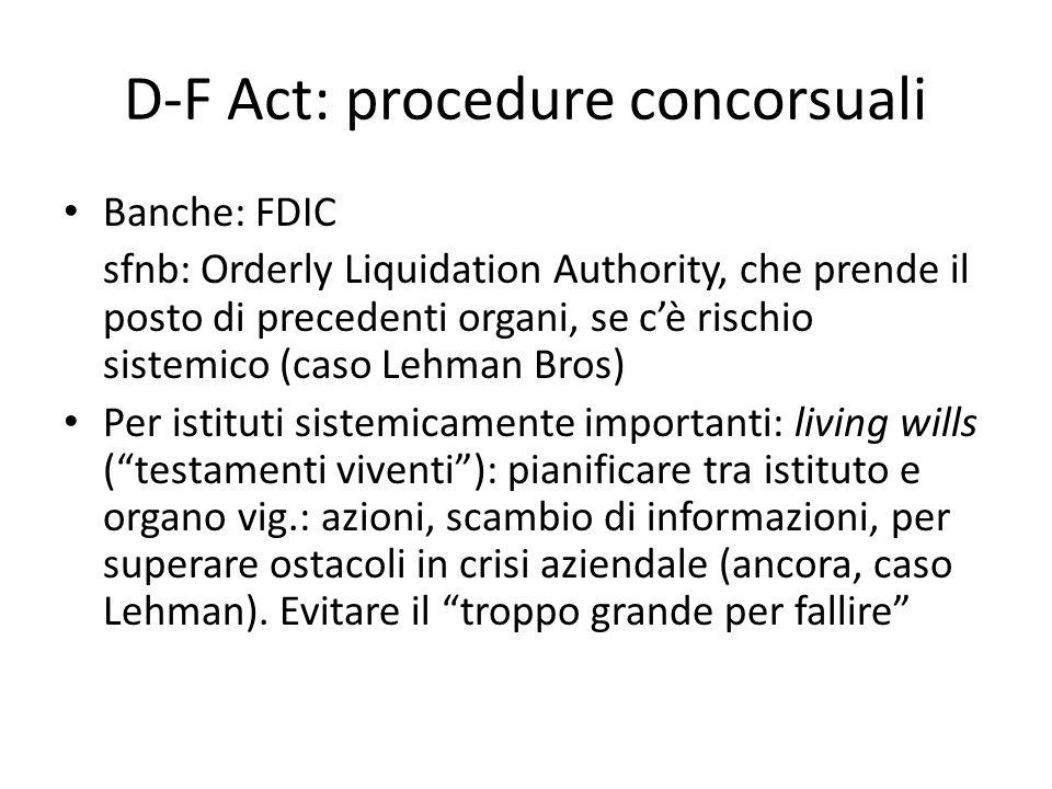 D-F Act: procedure concorsuali Banche: FDIC sfnb: Orderly Liquidation Authority, che prende il posto di precedenti organi, se cè rischio sistemico (ca