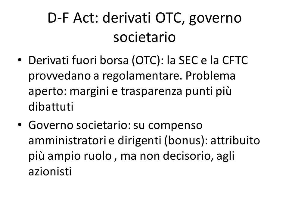D-F Act: derivati OTC, governo societario Derivati fuori borsa (OTC): la SEC e la CFTC provvedano a regolamentare. Problema aperto: margini e traspare