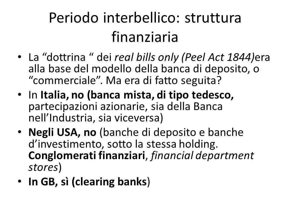 Periodo interbellico: crisi bancarie USA: innovazione industriale, boom economico, indebitamento delle imprese, con banche e con famiglie (sistema orientato al mercato), debito insostenibile, crisi di borsa, ritiri dei depositi, crisi di illiquidità, insolvenze Italia: cambio troppo elevato (quota 90), crisi industriali, commistione banca/industria, crisi della banca mista GB: crisi, ma non sistemica.