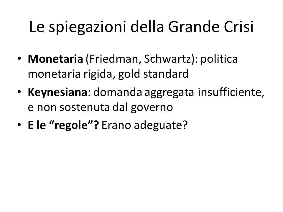 Le spiegazioni della Grande Crisi Monetaria (Friedman, Schwartz): politica monetaria rigida, gold standard Keynesiana: domanda aggregata insufficiente