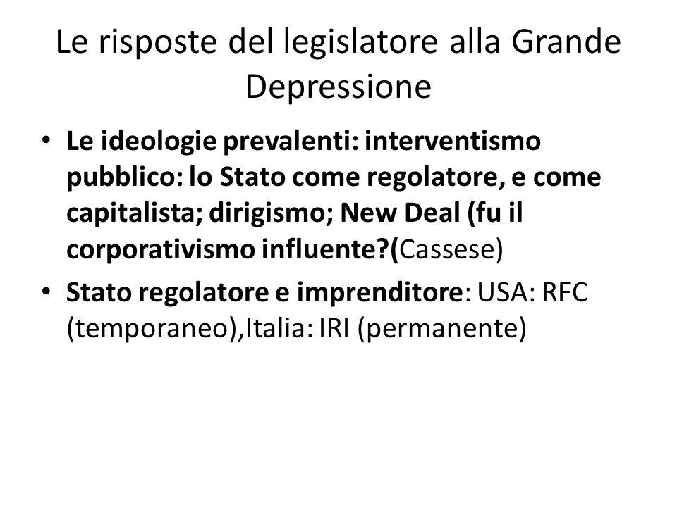 Le risposte del legislatore alla Grande Depressione Le ideologie prevalenti: interventismo pubblico: lo Stato come regolatore, e come capitalista; dir