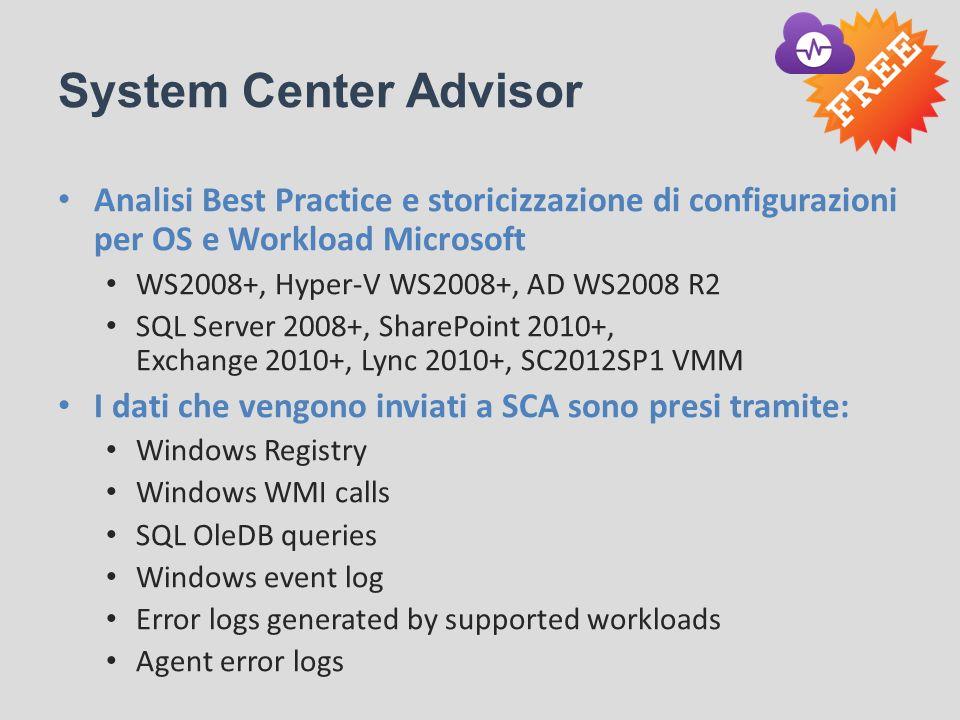 System Center Advisor Analisi Best Practice e storicizzazione di configurazioni per OS e Workload Microsoft WS2008+, Hyper-V WS2008+, AD WS2008 R2 SQL