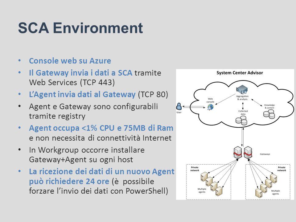 SCA Environment Console web su Azure Il Gateway invia i dati a SCA tramite Web Services (TCP 443) LAgent invia dati al Gateway (TCP 80) Agent e Gatewa
