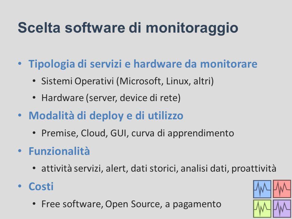 Scelta software di monitoraggio Tipologia di servizi e hardware da monitorare Sistemi Operativi (Microsoft, Linux, altri) Hardware (server, device di