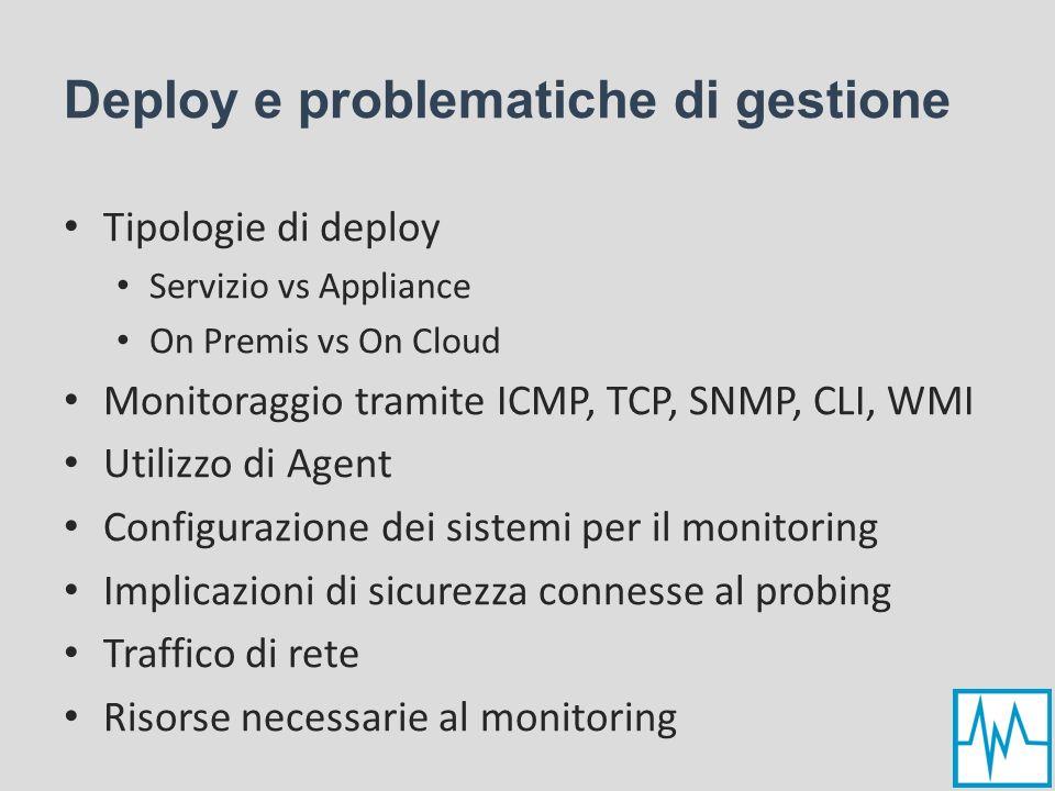 Deploy e problematiche di gestione Tipologie di deploy Servizio vs Appliance On Premis vs On Cloud Monitoraggio tramite ICMP, TCP, SNMP, CLI, WMI Util