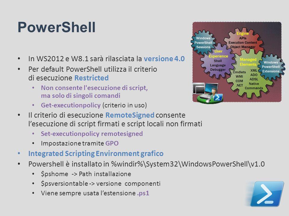 PowerShell In WS2012 e W8.1 sarà rilasciata la versione 4.0 Per default PowerShell utilizza il criterio di esecuzione Restricted Non consente l'esecuz