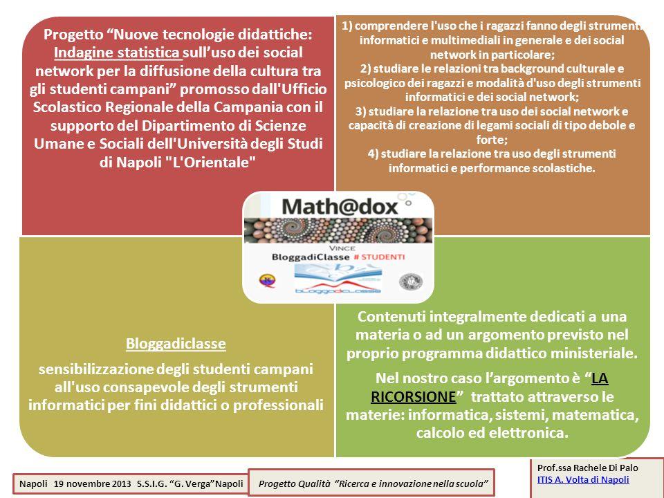 Napoli 19 novembre 2013 S.S.I.G. G. VergaNapoli Progetto Qualità Ricerca e innovazione nella scuola Prof.ssa Rachele Di Palo ITIS A. Volta di Napoli I