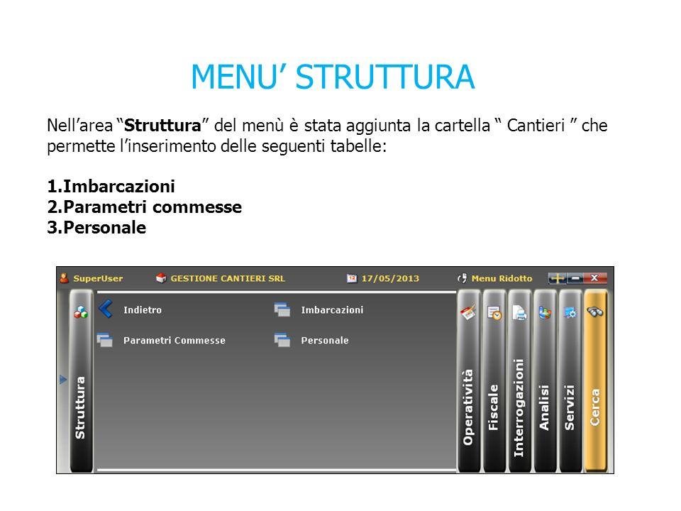 MENU STRUTTURA Nellarea Struttura del menù è stata aggiunta la cartella Cantieri che permette linserimento delle seguenti tabelle: 1.Imbarcazioni 2.Parametri commesse 3.Personale