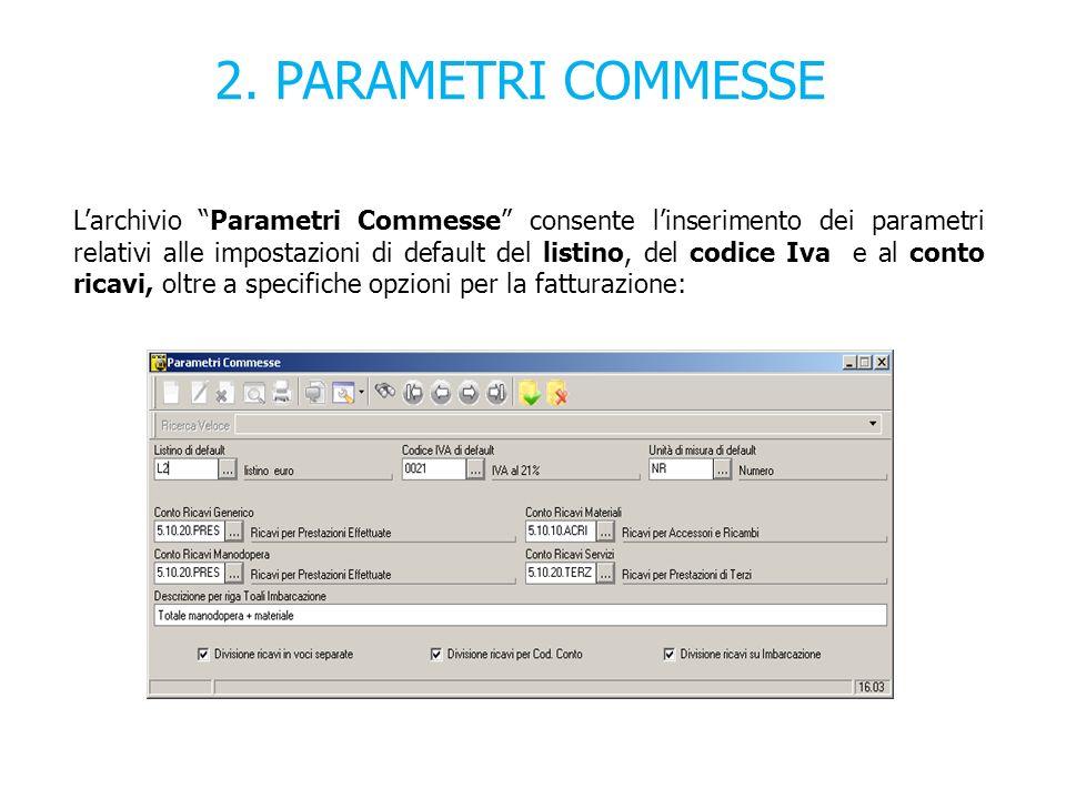 2. PARAMETRI COMMESSE Larchivio Parametri Commesse consente linserimento dei parametri relativi alle impostazioni di default del listino, del codice I
