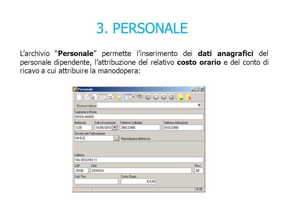 3. PERSONALE Larchivio Personale permette linserimento dei dati anagrafici del personale dipendente, lattribuzione del relativo costo orario e del con