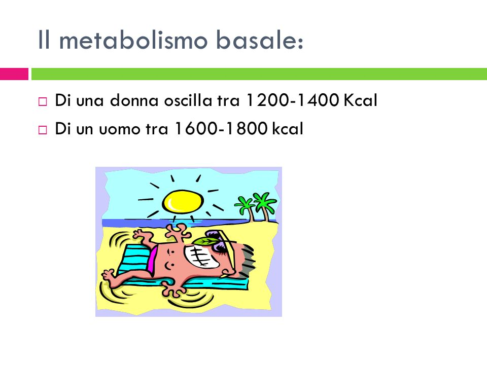 Il metabolismo basale: Di una donna oscilla tra 1200-1400 Kcal Di un uomo tra 1600-1800 kcal