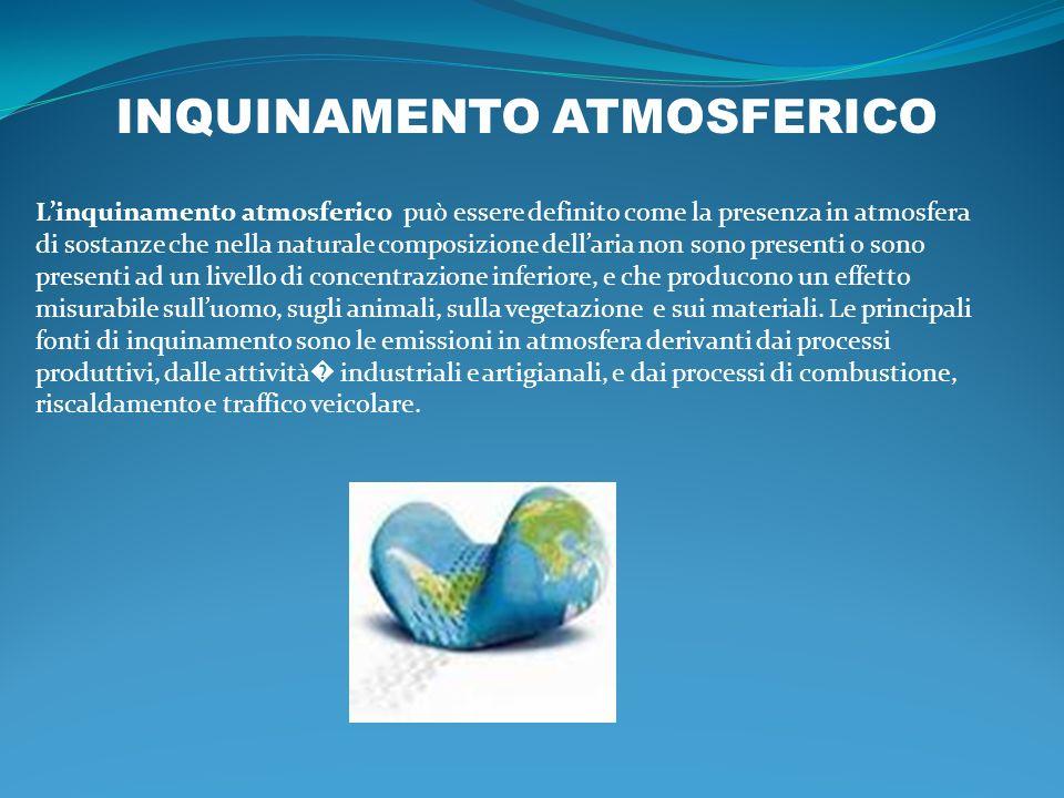 INQUINAMENTO ATMOSFERICO Linquinamento atmosferico può essere definito come la presenza in atmosfera di sostanze che nella naturale composizione della