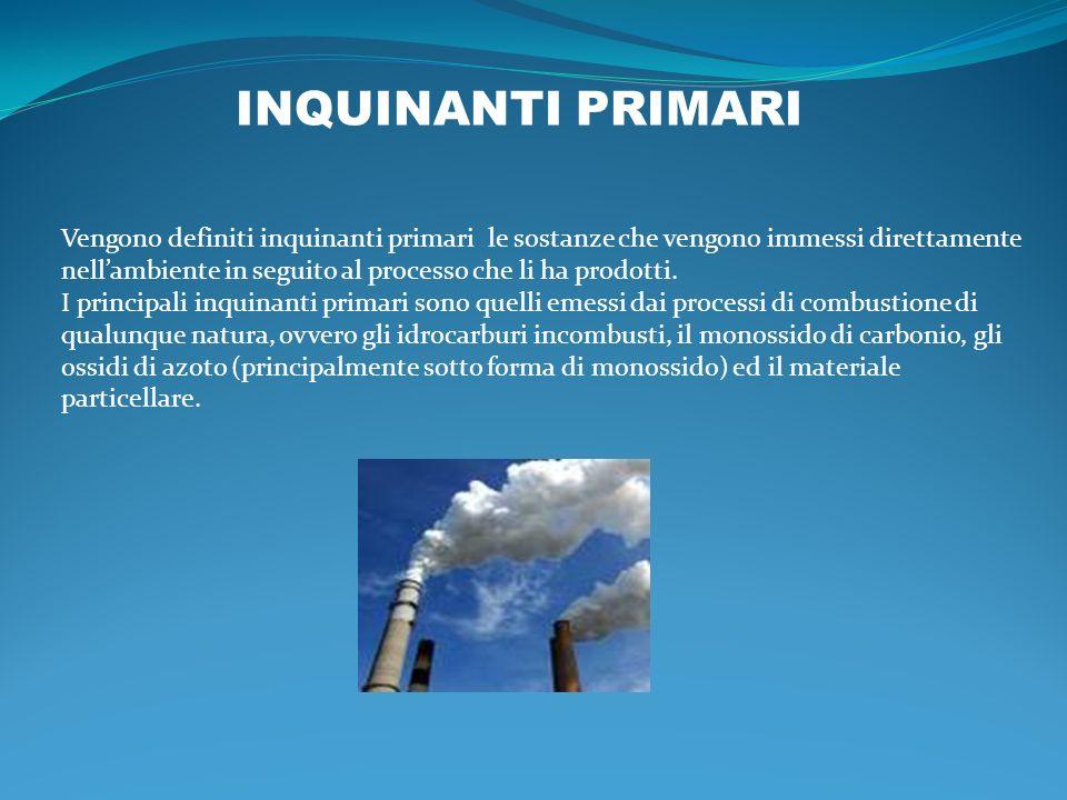 Vengono definiti inquinanti primari le sostanze che vengono immessi direttamente nellambiente in seguito al processo che li ha prodotti. I principali