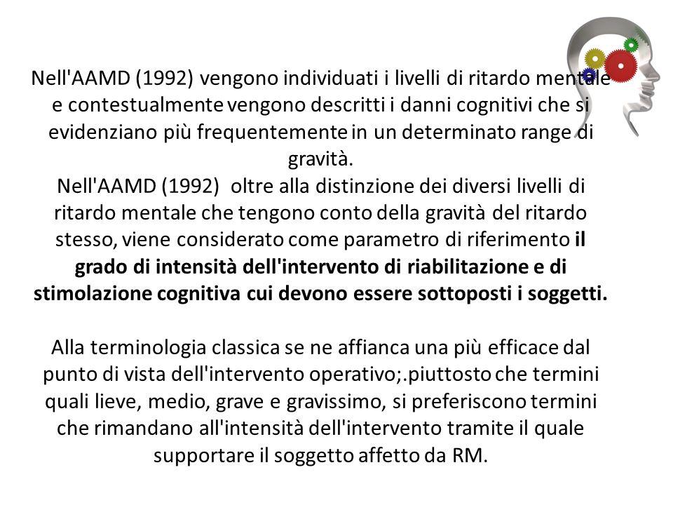 Nell'AAMD (1992) vengono individuati i livelli di ritardo mentale e contestualmente vengono descritti i danni cognitivi che si evidenziano più frequen