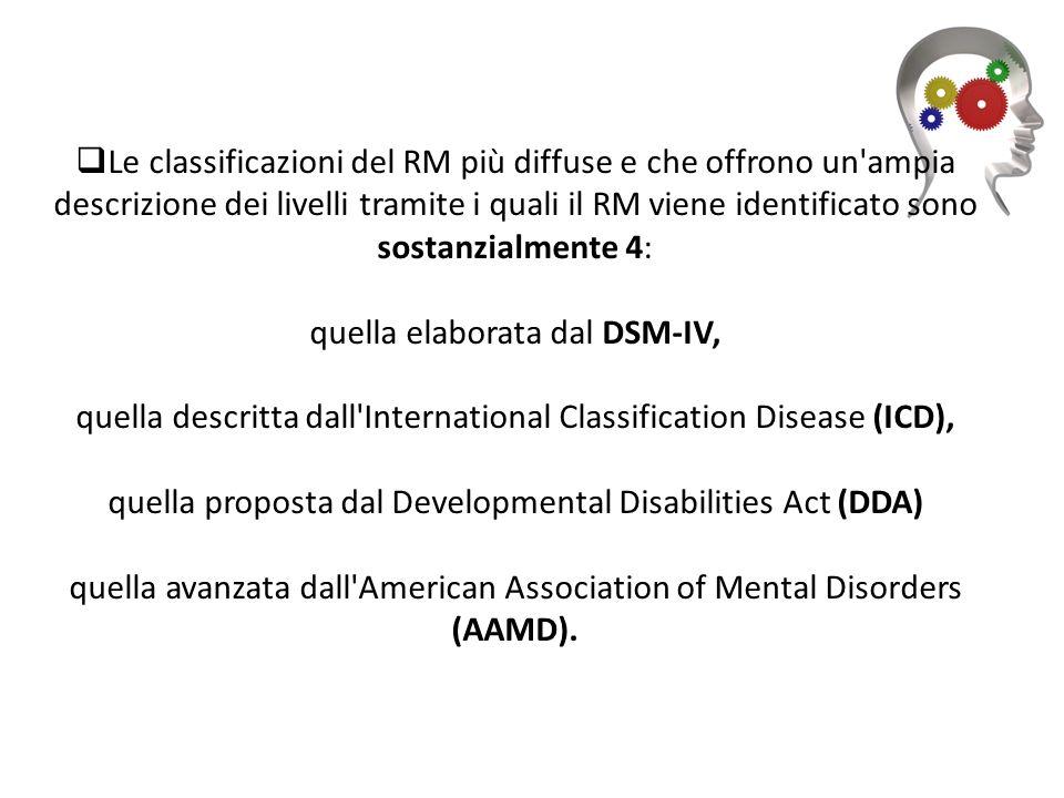 Le classificazioni del RM più diffuse e che offrono un'ampia descrizione dei livelli tramite i quali il RM viene identificato sono sostanzialmente 4: