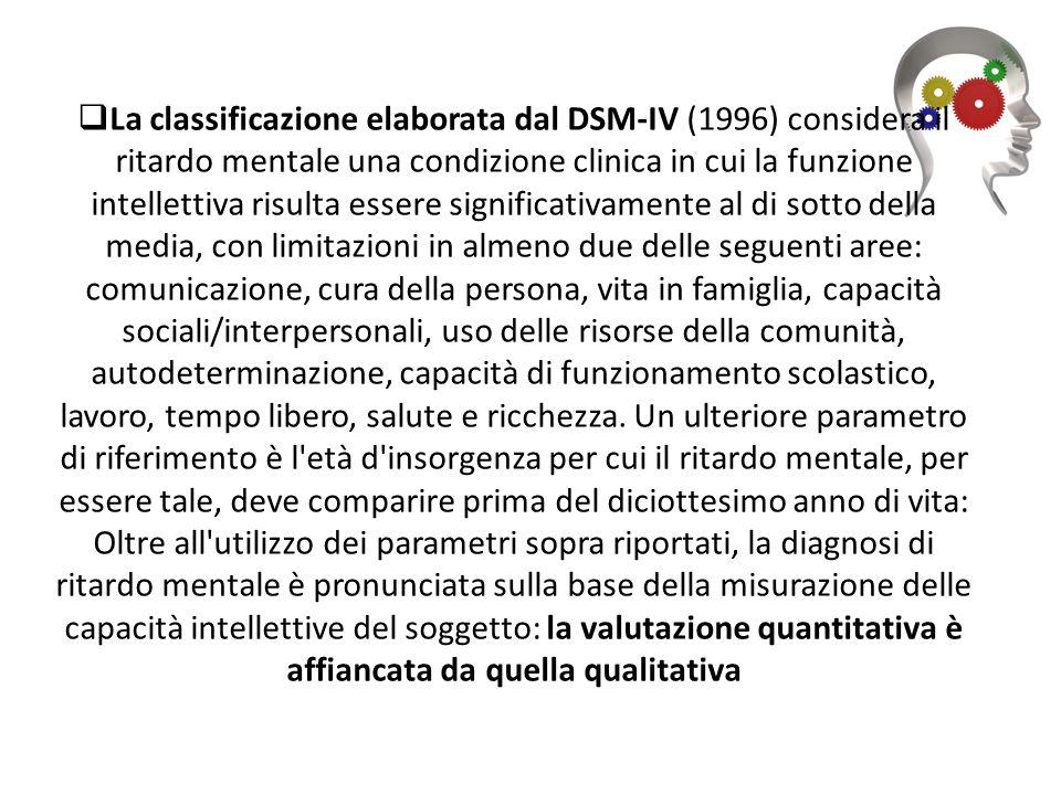 La classificazione elaborata dal DSM-IV (1996) considera il ritardo mentale una condizione clinica in cui la funzione intellettiva risulta essere sig