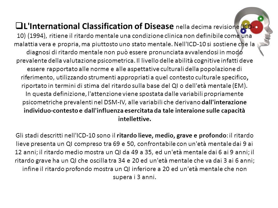 L'International Classification of Disease nella decima revisione (ICD- 10) (1994), ritiene il ritardo mentale una condizione clinica non definibile co