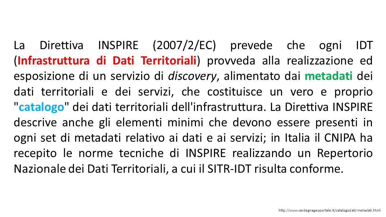 La Direttiva INSPIRE (2007/2/EC) prevede che ogni IDT (Infrastruttura di Dati Territoriali) provveda alla realizzazione ed esposizione di un servizio
