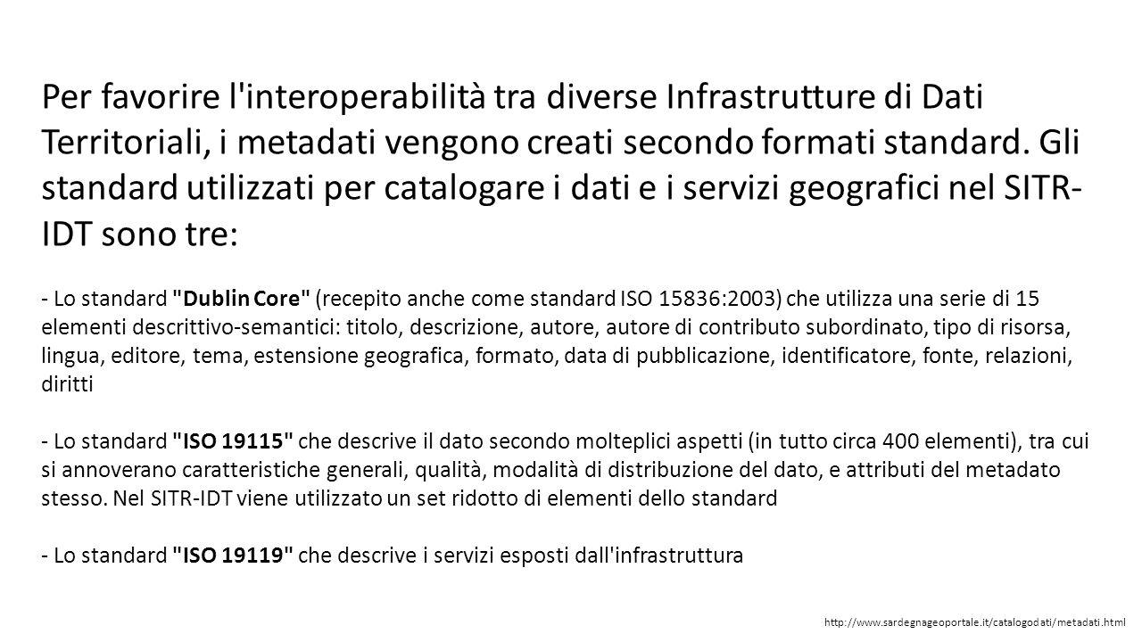 Per favorire l'interoperabilità tra diverse Infrastrutture di Dati Territoriali, i metadati vengono creati secondo formati standard. Gli standard util
