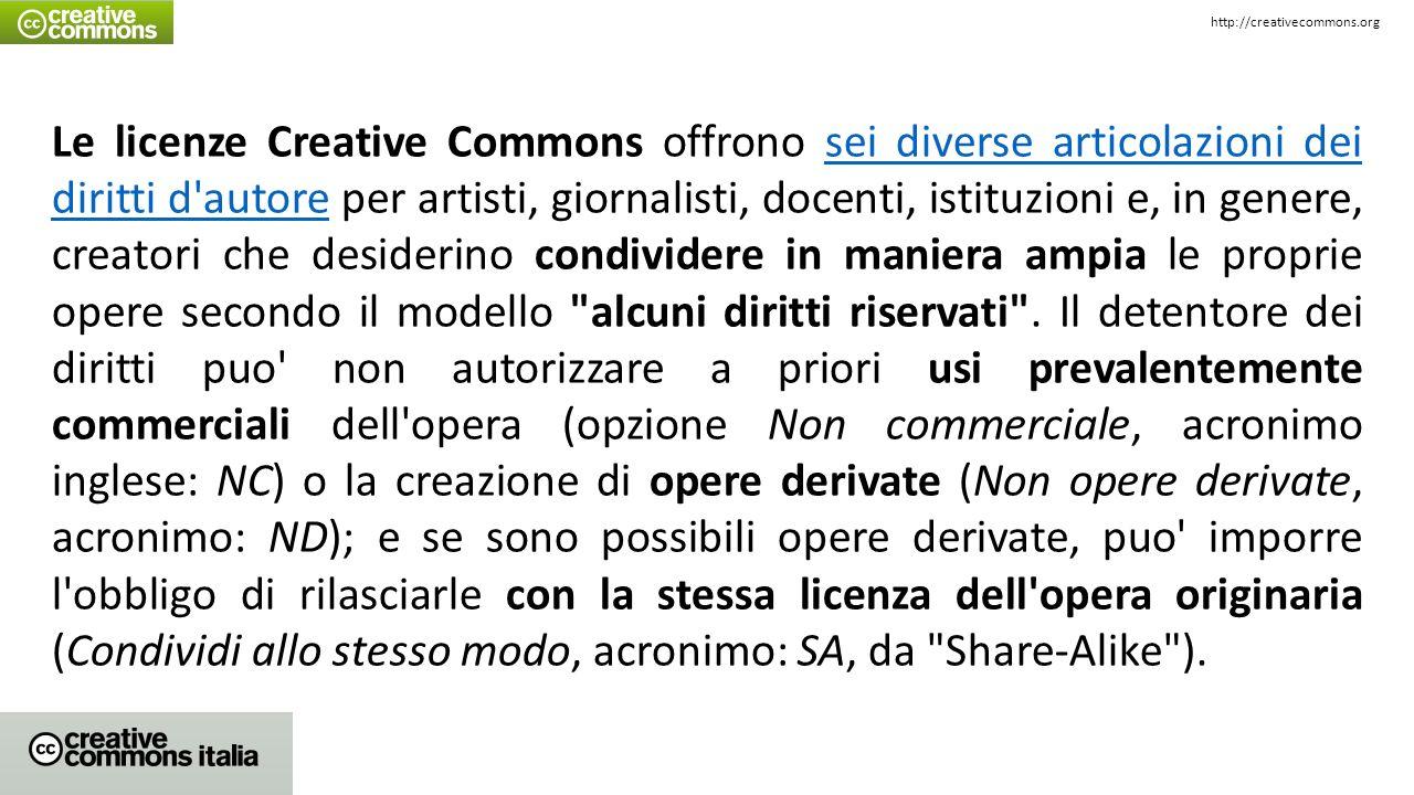 Le licenze Creative Commons offrono sei diverse articolazioni dei diritti d'autore per artisti, giornalisti, docenti, istituzioni e, in genere, creato