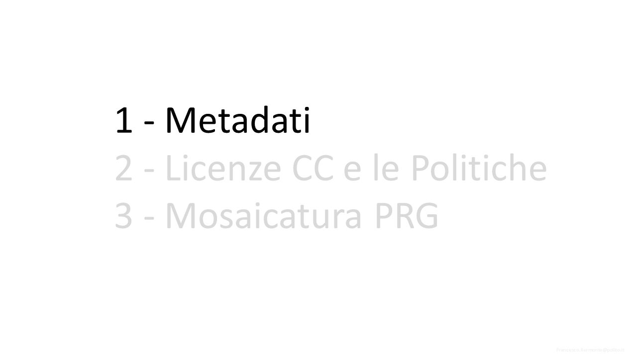 Per favorire l interoperabilità tra diverse Infrastrutture di Dati Territoriali, i metadati vengono creati secondo formati standard.