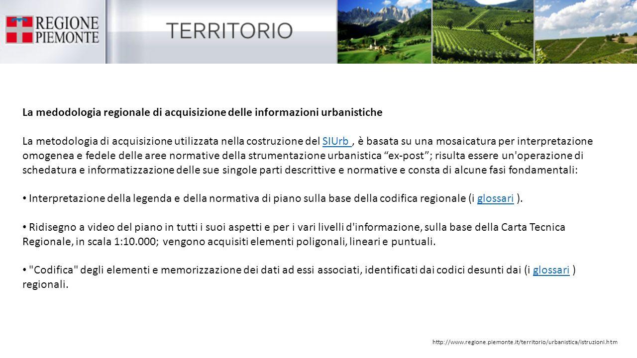 La medodologia regionale di acquisizione delle informazioni urbanistiche La metodologia di acquisizione utilizzata nella costruzione del SIUrb, è basa