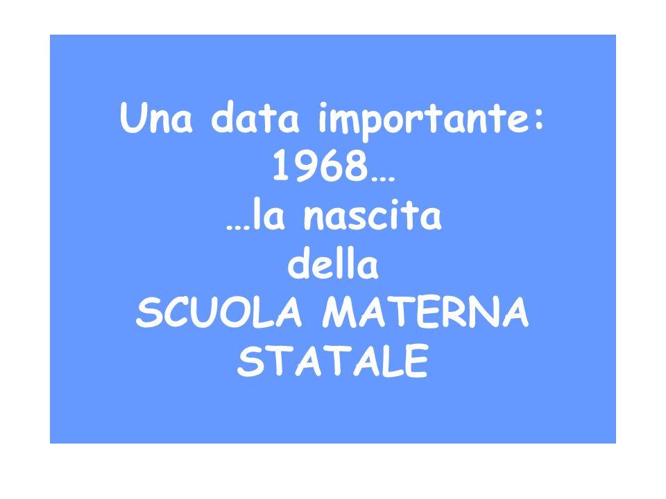 Una data importante: 1968… …la nascita della SCUOLA MATERNA STATALE