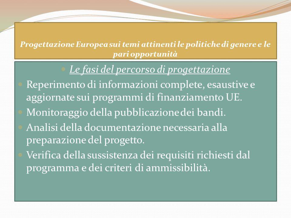 Progettazione Europea sui temi attinenti le politiche di genere e le pari opportunità Le fasi del percorso di progettazione Reperimento di informazion
