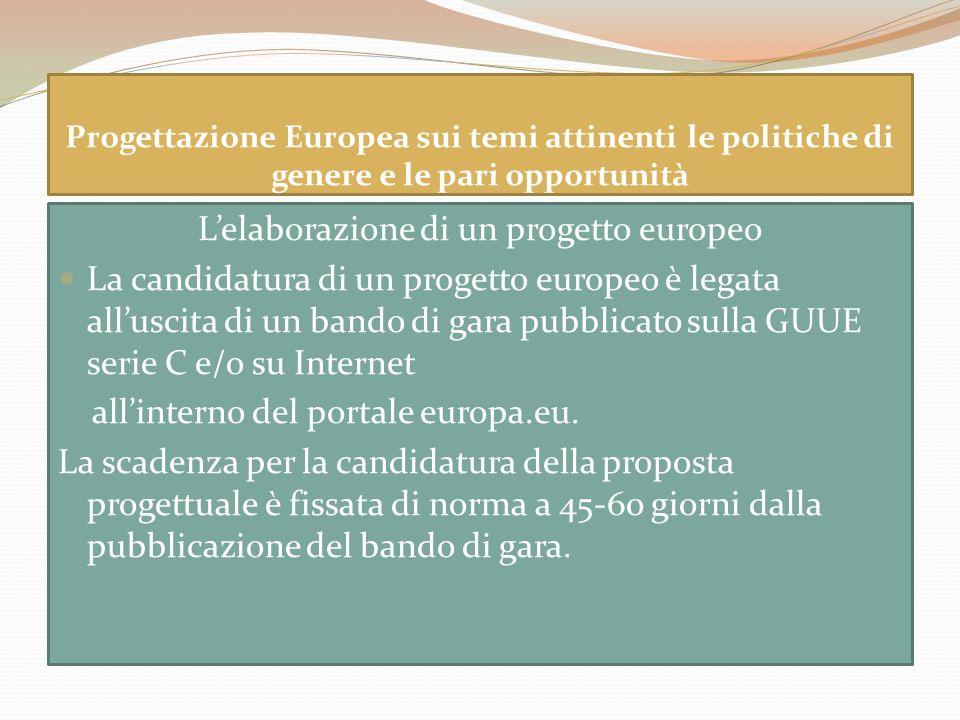 Progettazione Europea sui temi attinenti le politiche di genere e le pari opportunità Lelaborazione di un progetto europeo La candidatura di un proget