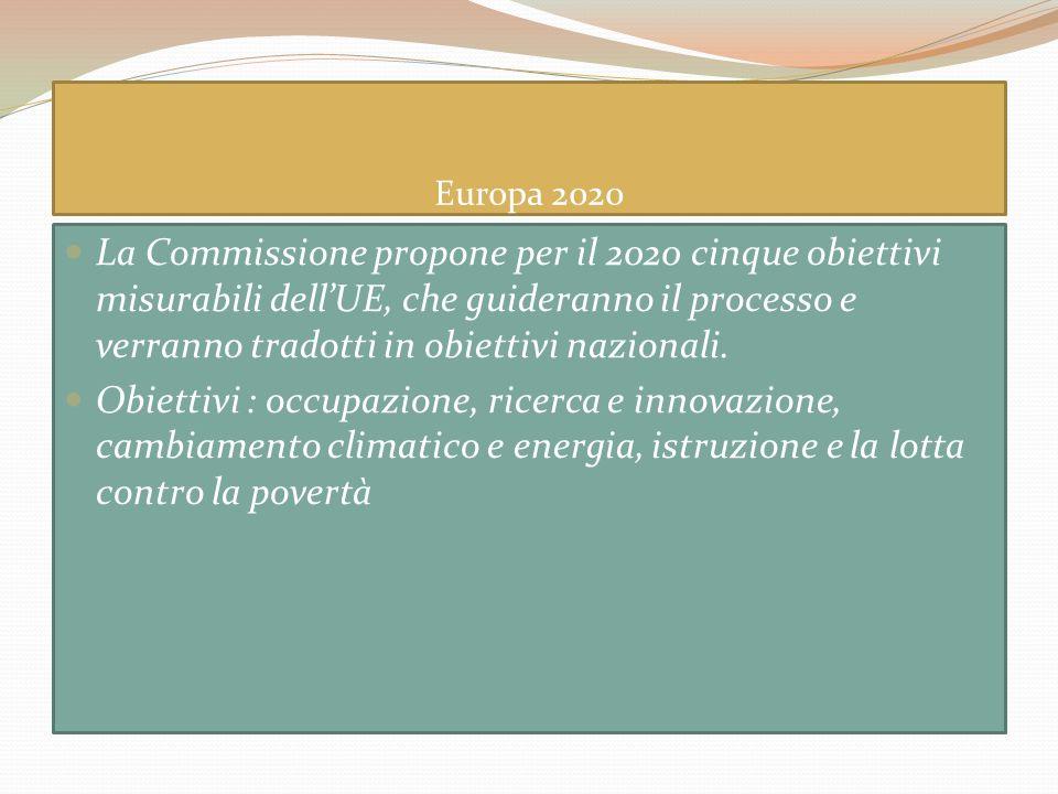 Europa 2020 La Commissione propone per il 2020 cinque obiettivi misurabili dellUE, che guideranno il processo e verranno tradotti in obiettivi naziona