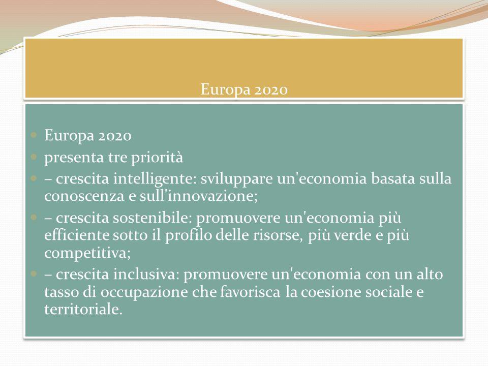 Europa 2020 presenta tre priorità – crescita intelligente: sviluppare un'economia basata sulla conoscenza e sull'innovazione; – crescita sostenibile: