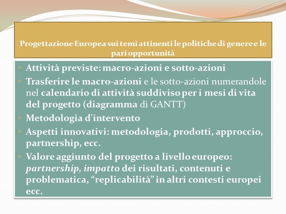 Progettazione Europea sui temi attinenti le politiche di genere e le pari opportunità Attività previste: macro-azioni e sotto-azioni Trasferire le mac
