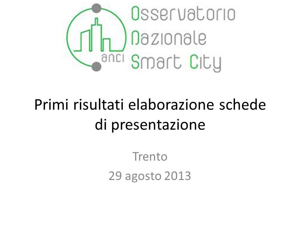 Primi risultati elaborazione schede di presentazione Trento 29 agosto 2013