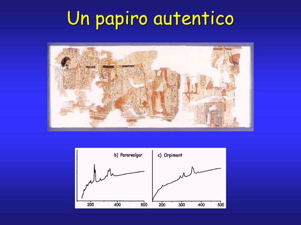Identificazione di pigmenti in papiri Come si nota dalla tabella precedente, nei papiri da autenticare lanalisi delle parti colorate ha mostrato la presenza di pigmenti evidentemente incompatibili con lattribuzione temporale dei documenti