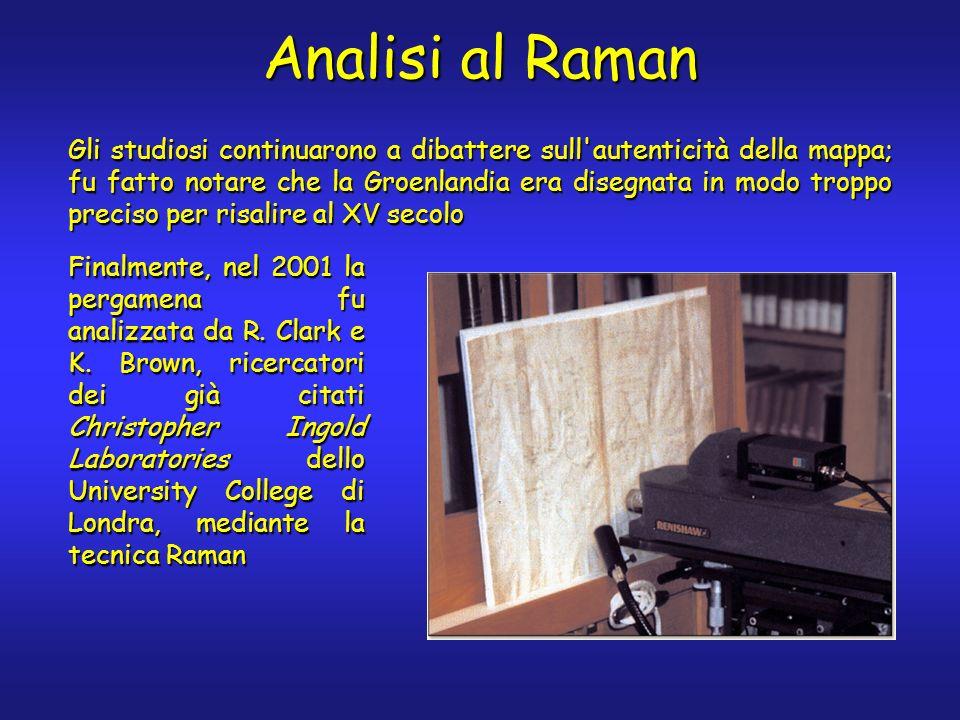 Le analisi vennero effettuate in più punti, utilizzando uno strumento Raman portatile con laser rosso ( = 632.8 nm) Due colori erano presenti sulla pergamena: le righe gialle e tratti di righe nere sovrapposte alle gialle, ma in gran parte svanite Punti di campionamento