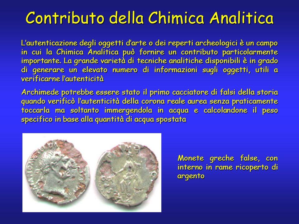 Lautenticazione degli oggetti darte o dei reperti archeologici è un campo in cui la Chimica Analitica può fornire un contributo particolarmente import