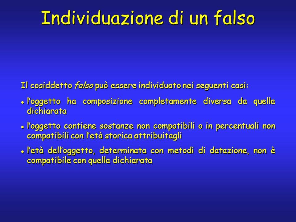 Il cosiddetto falso può essere individuato nei seguenti casi: loggetto ha composizione completamente diversa da quella dichiarata loggetto ha composiz