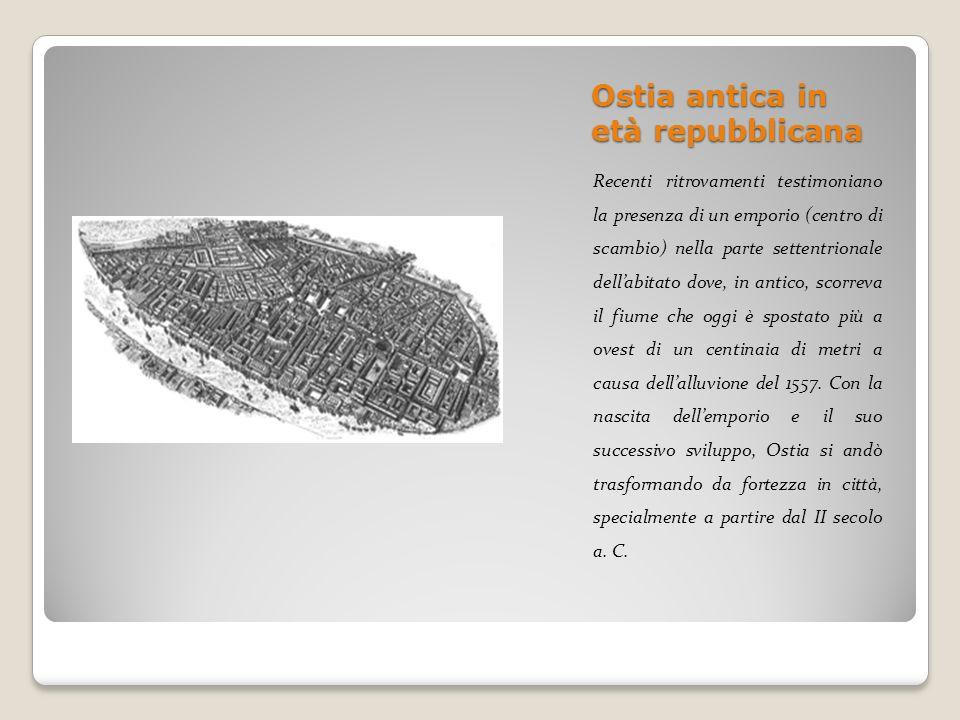 Ostia antica in età repubblicana Recenti ritrovamenti testimoniano la presenza di un emporio (centro di scambio) nella parte settentrionale dellabitat