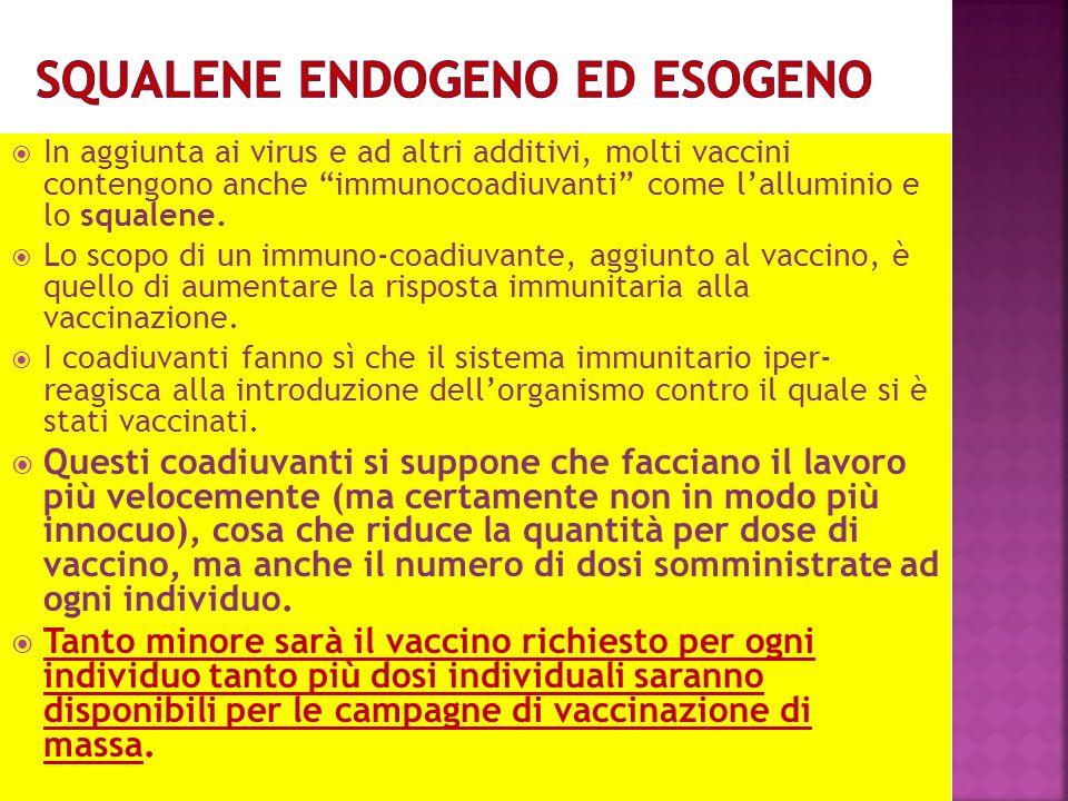 In aggiunta ai virus e ad altri additivi, molti vaccini contengono anche immunocoadiuvanti come lalluminio e lo squalene.