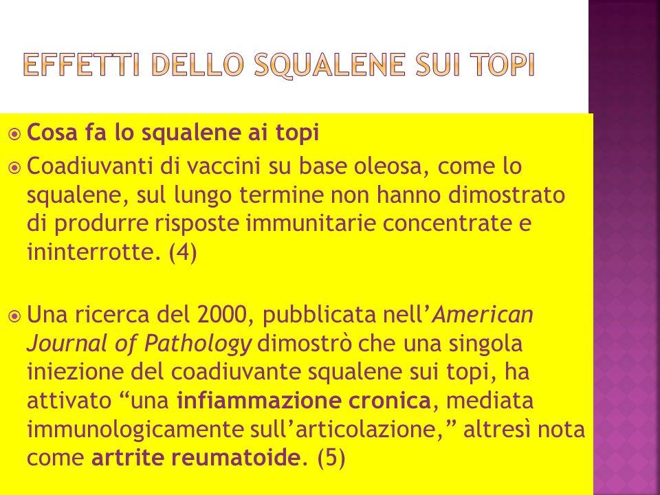 Cosa fa lo squalene ai topi Coadiuvanti di vaccini su base oleosa, come lo squalene, sul lungo termine non hanno dimostrato di produrre risposte immunitarie concentrate e ininterrotte.