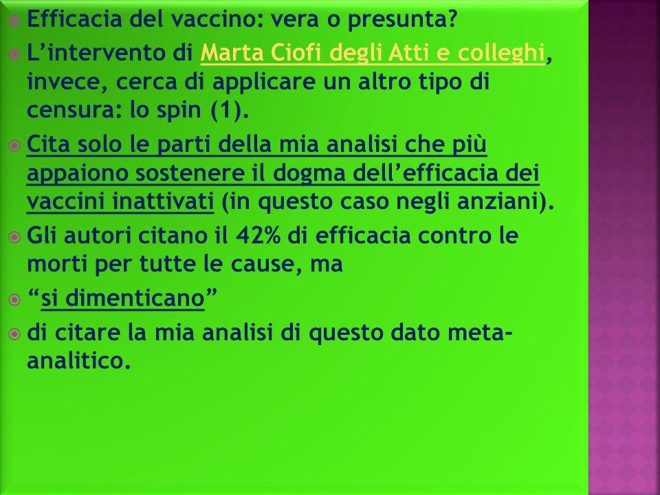 Efficacia del vaccino: vera o presunta.