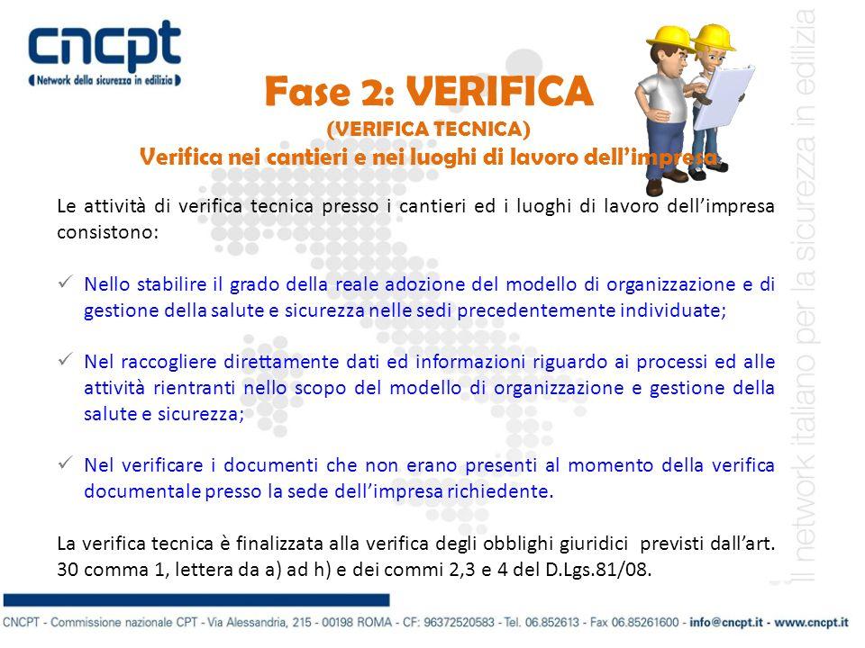 Fase 2: VERIFICA (VERIFICA TECNICA) Verifica nei cantieri e nei luoghi di lavoro dellimpresa Le attività di verifica tecnica presso i cantieri ed i lu