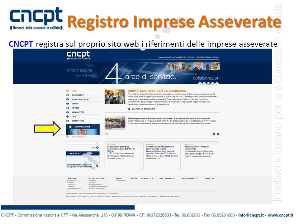 Registro Imprese Asseverate CNCPT registra sul proprio sito web i riferimenti delle imprese asseverate