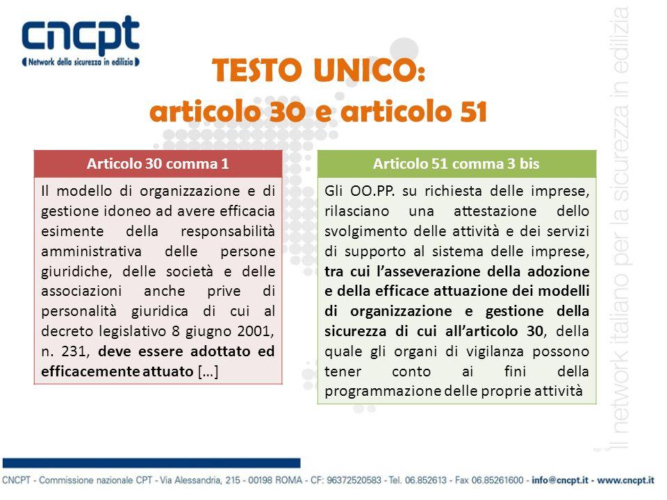 TESTO UNICO: articolo 30 e articolo 51 Articolo 30 comma 1 Il modello di organizzazione e di gestione idoneo ad avere efficacia esimente della respons