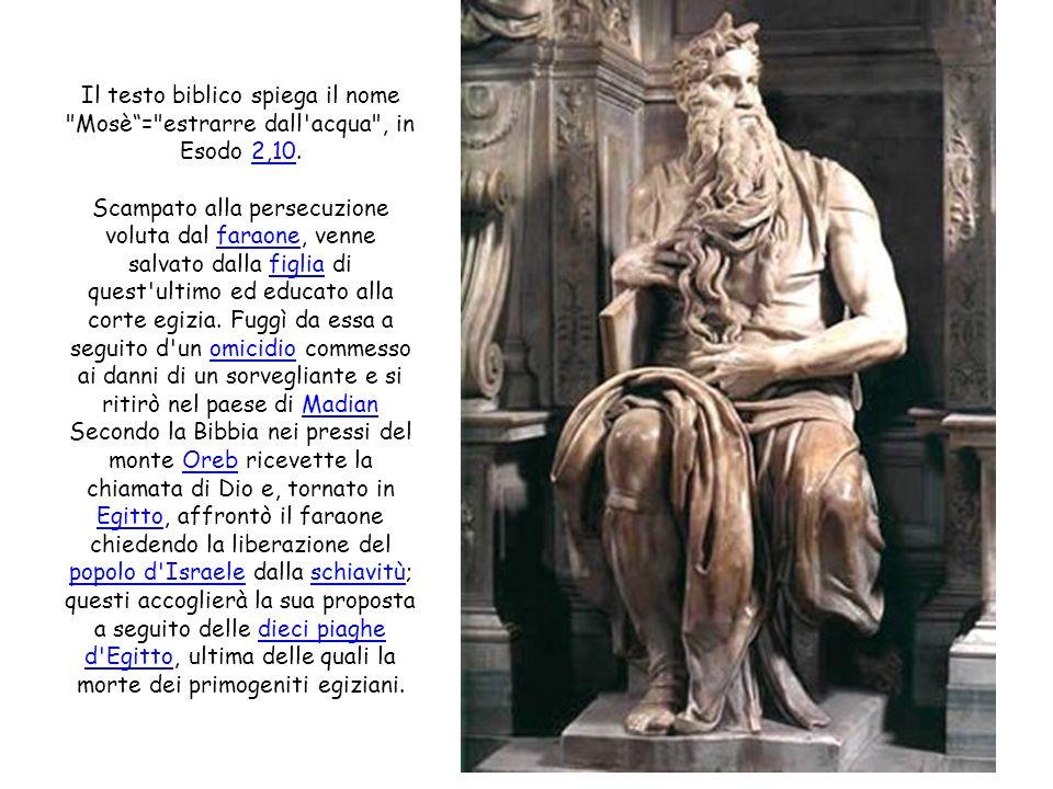 Il testo biblico spiega il nome Mosè= estrarre dall acqua , in Esodo 2,10.